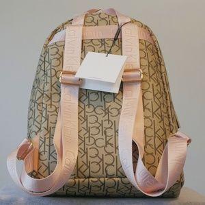 NWT Calvin Klein Monroe Logo Backpack Pink Khaki